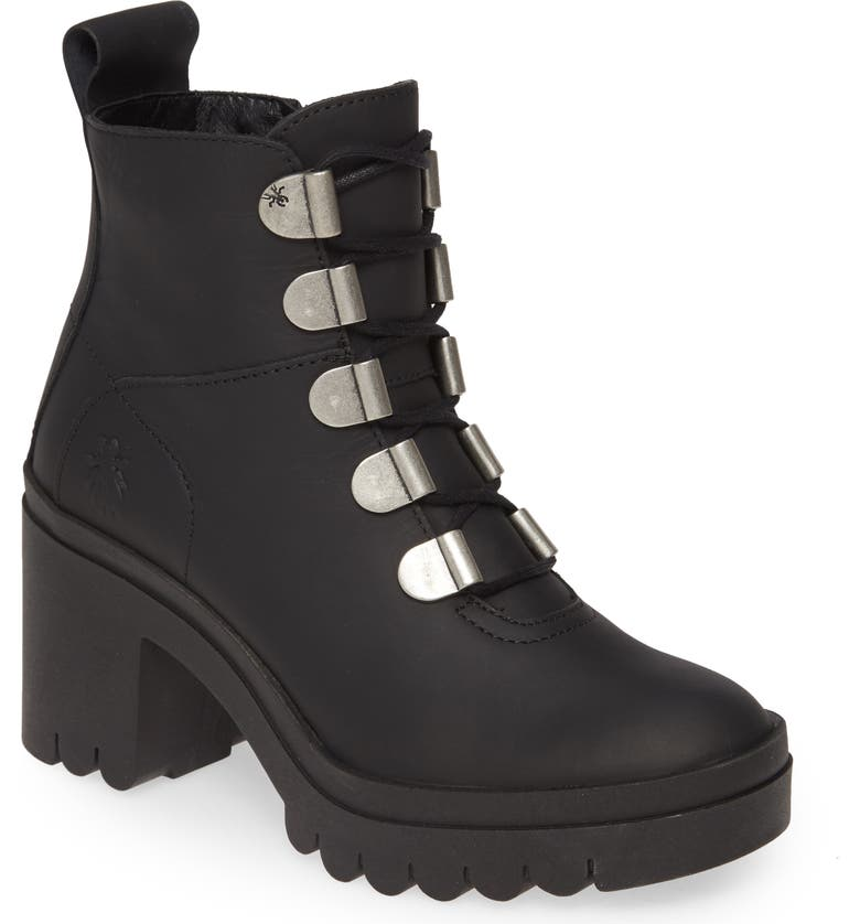 FLY LONDON Tapa Water Resistant Platform Bootie, Main, color, BLACK LEATHER