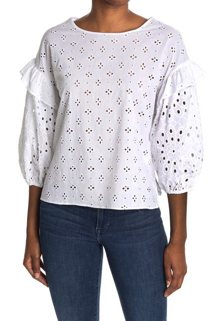 Image of Chenault Mixed Eyelet Ruffle Drop Shoulder Top