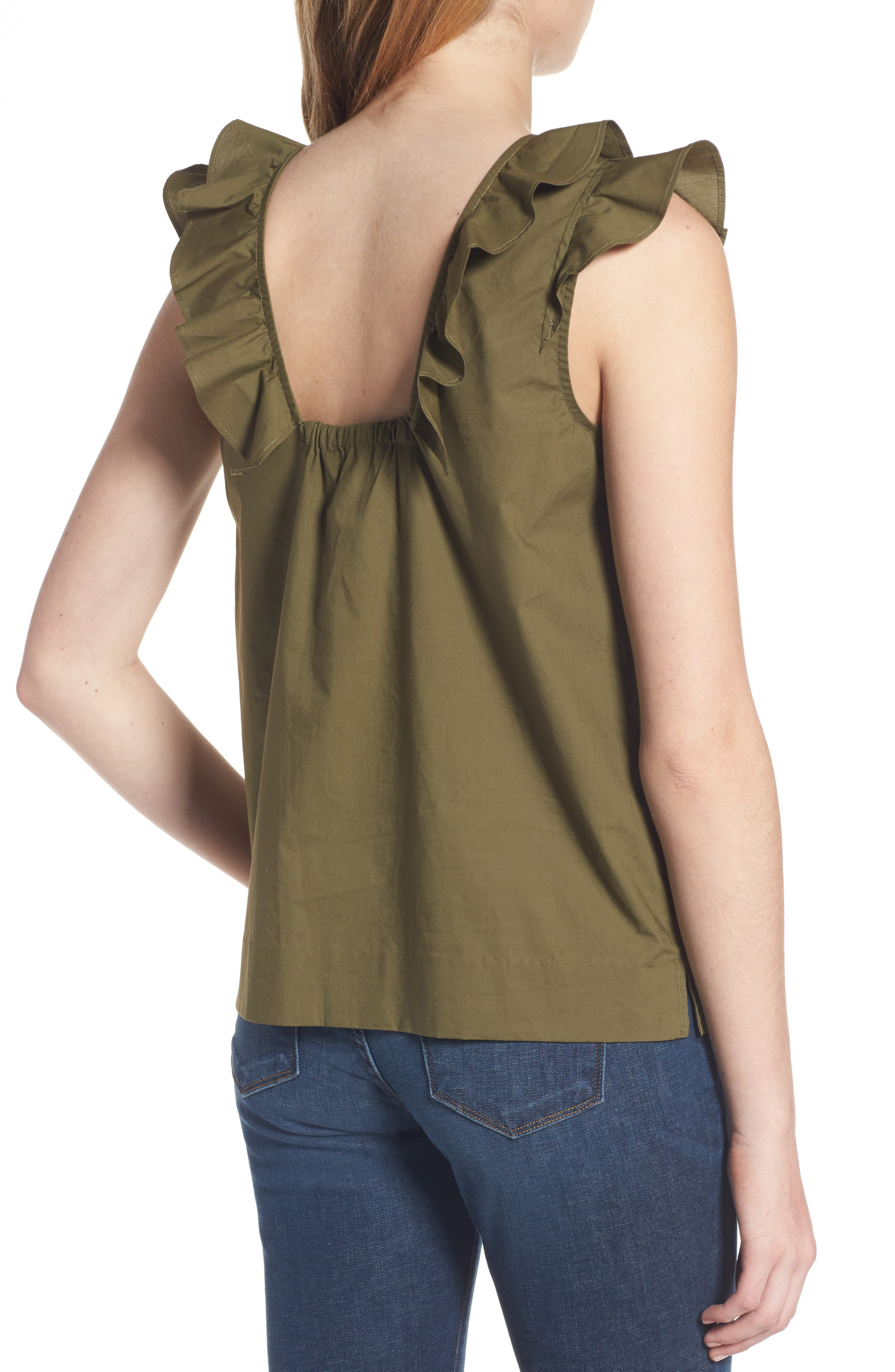 ,                             Ruffle Cotton Poplin Top,                             Alternate thumbnail 7, color,                             340