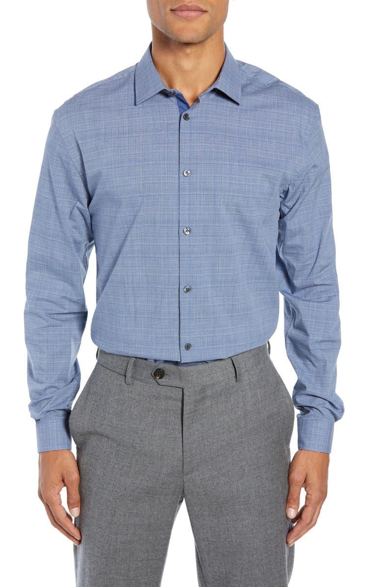 JOHN VARVATOS STAR USA Slim Fit Check Dress Shirt, Main, color, BLUE HEATHER