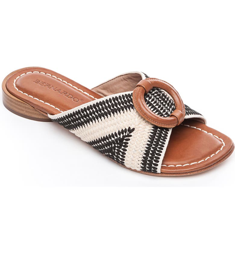 BERNARDO Footwear Tay Slide Sandal, Main, color, CREAM/ BLACK/ LUGGAGE LEATHER