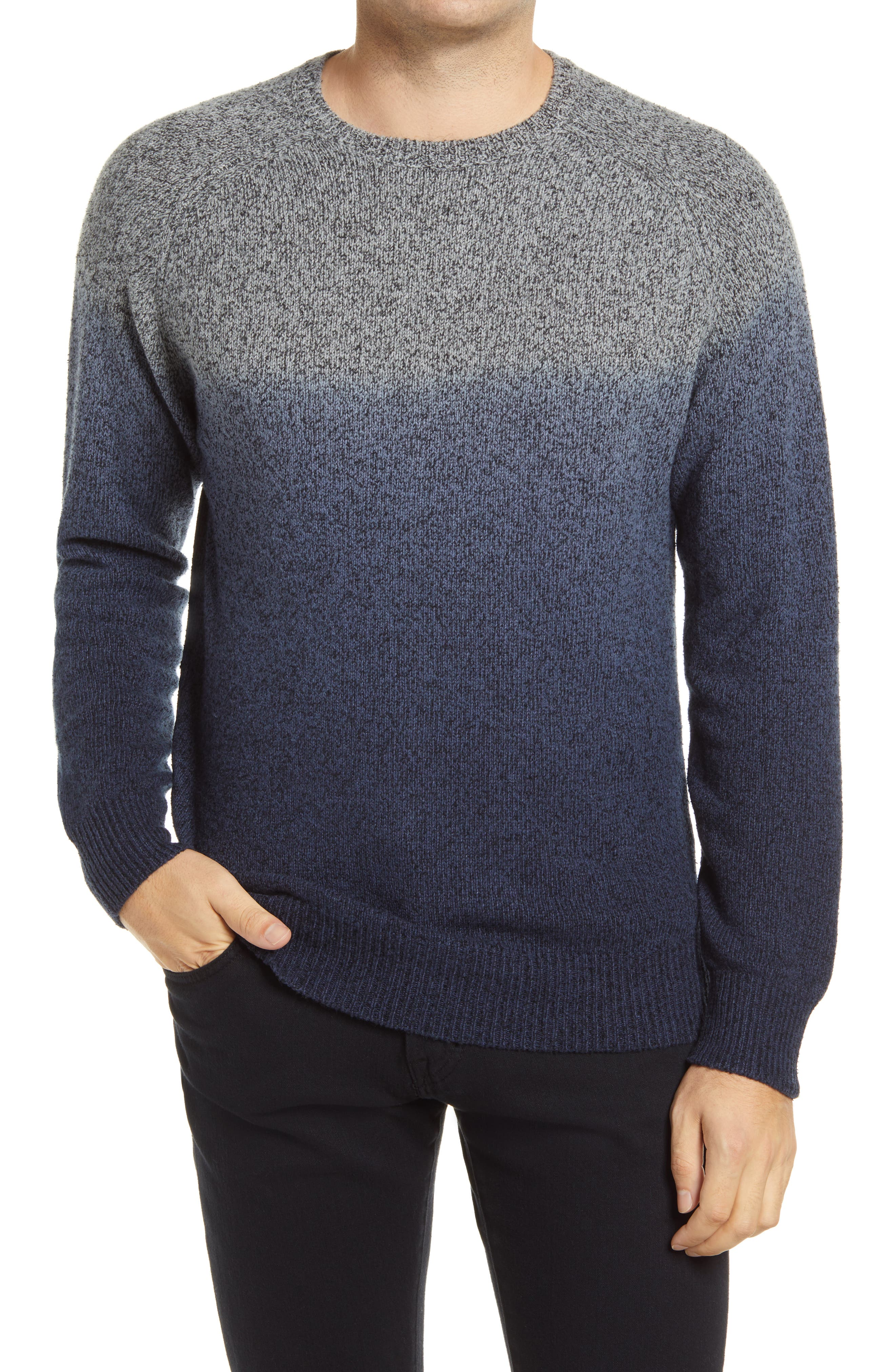 Ombre-inspired dip-dye styles a handsome crewneck sweater knit from rich wool-blend yarn. Style Name: Peter Millar Dip Dye Sweater. Style Number: 6106583. Available in stores.
