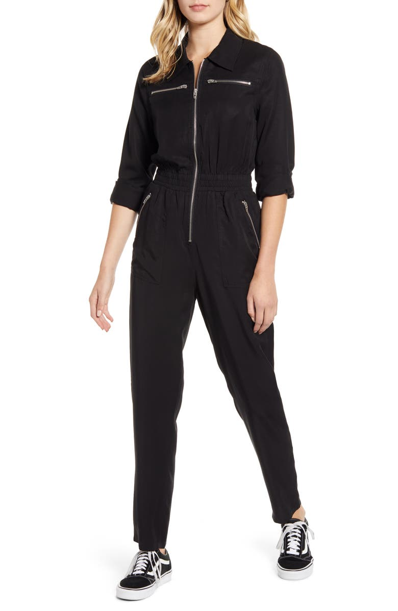 BLANKNYC Twill Boilersuit, Main, color, BLACK OUT
