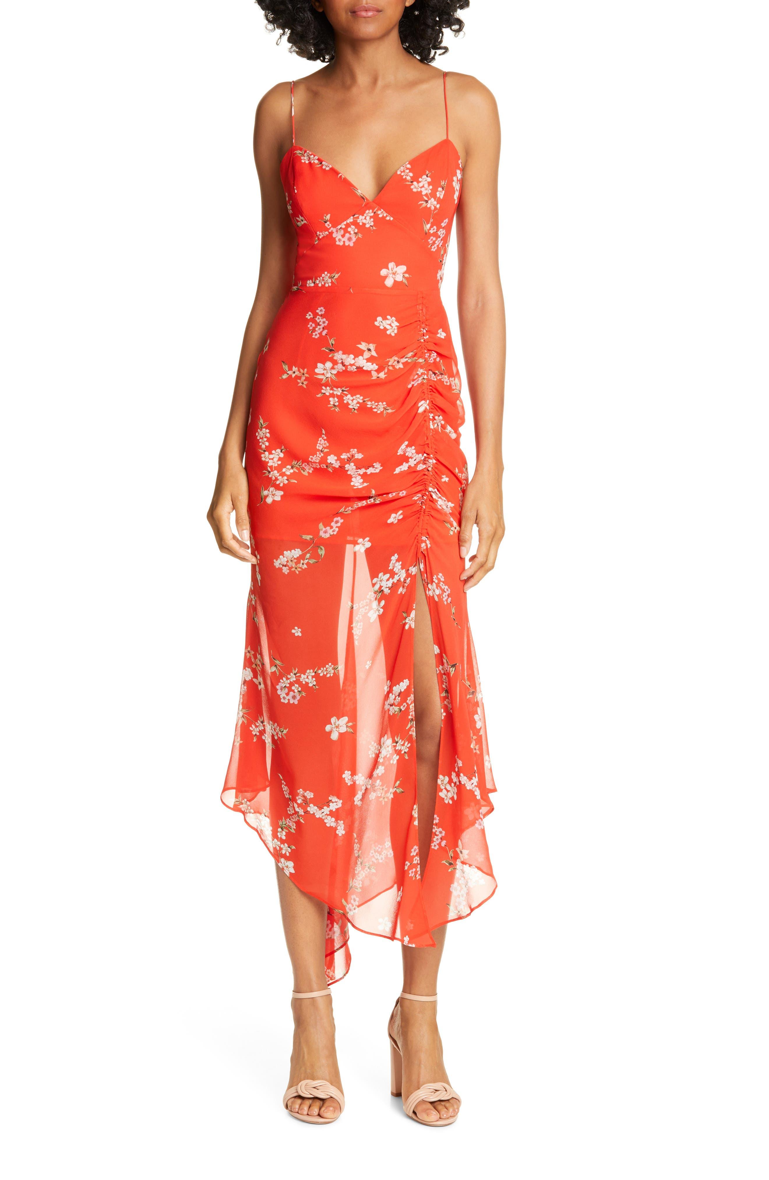 Nicholas Ruched Angled Hem Silk Dress, Red