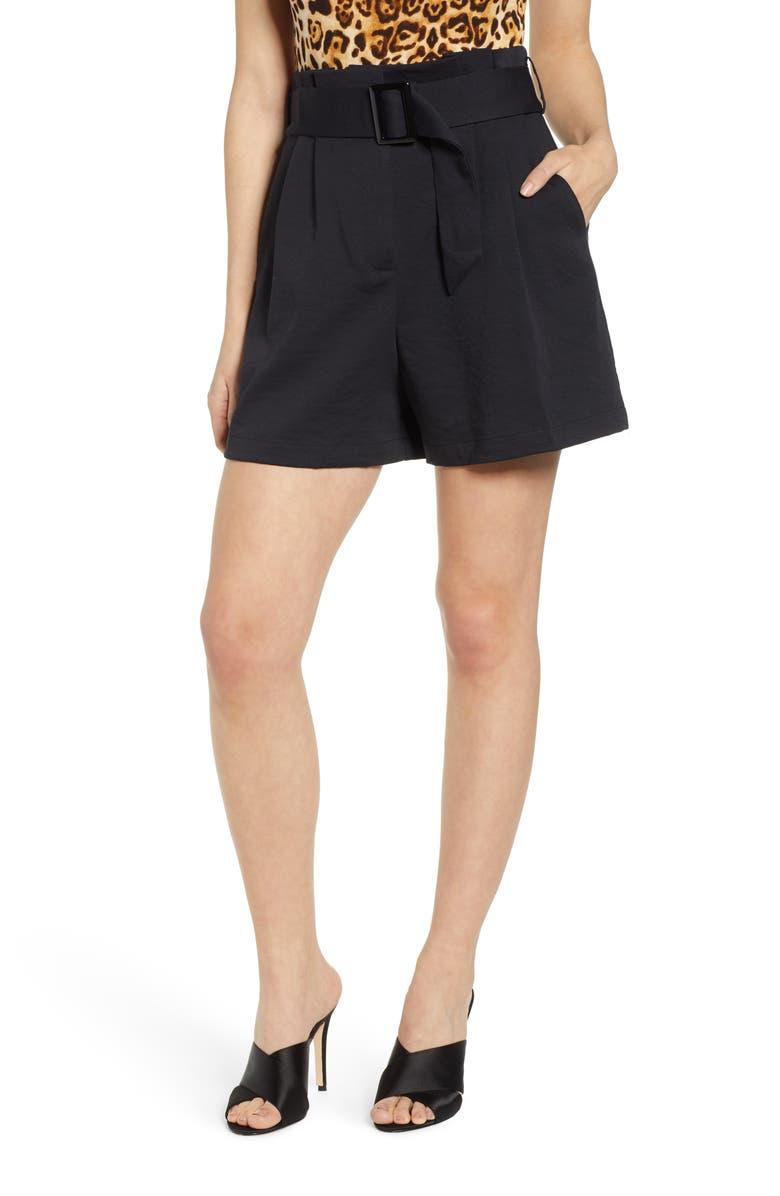 LEITH Buckle Belt Paperbag Waist Shorts, Main, color, 001