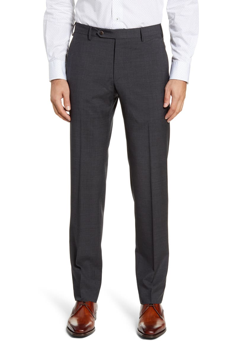 ZANELLA Parker Flat Front Plaid Wool Dress Pants, Main, color, CHARCOAL