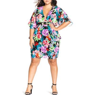Plus Size Chic City Exotic Blooms Chiffon Dress, Blue