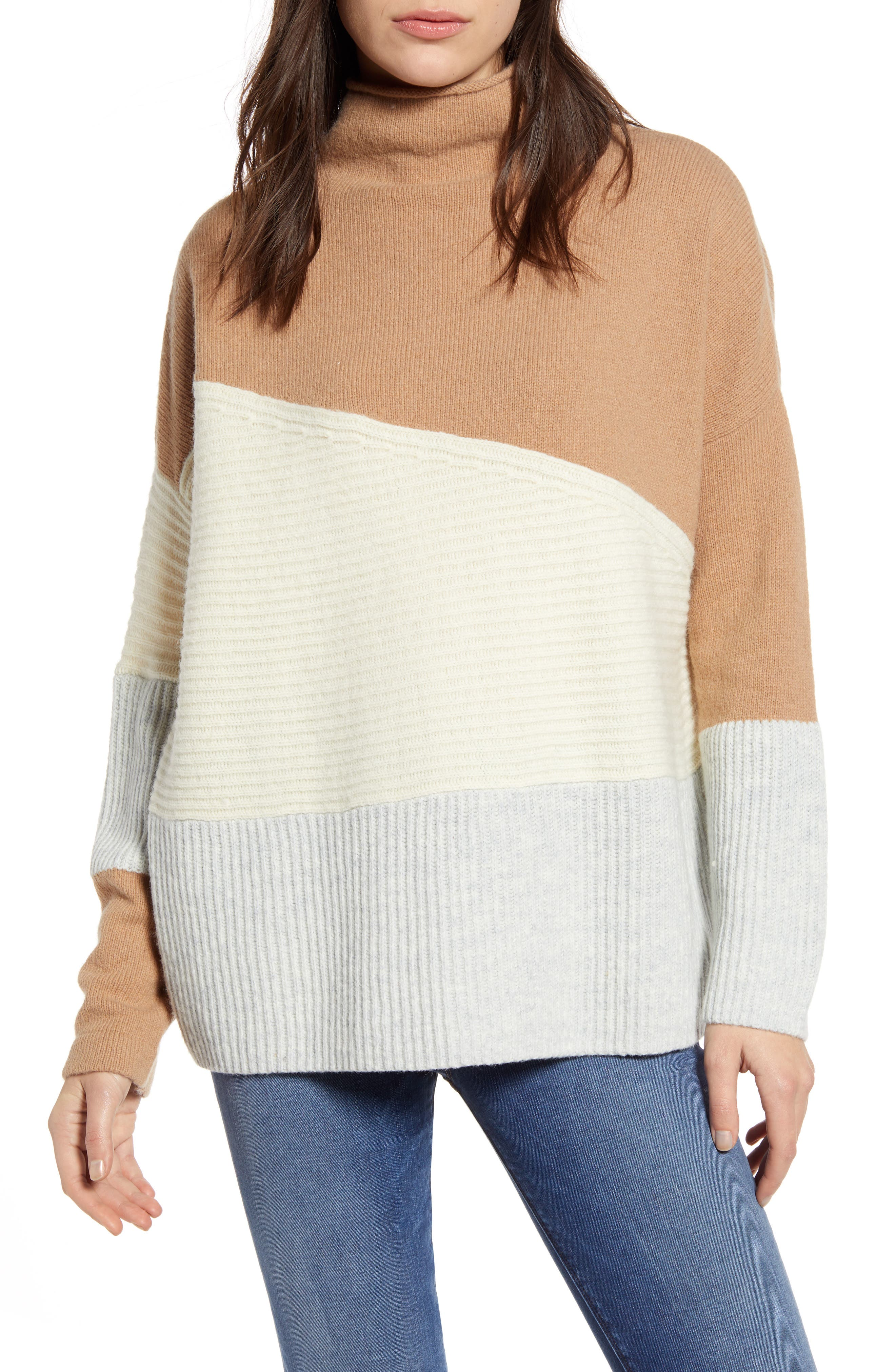 French Connection Patchwork Funnel Neck Sweater