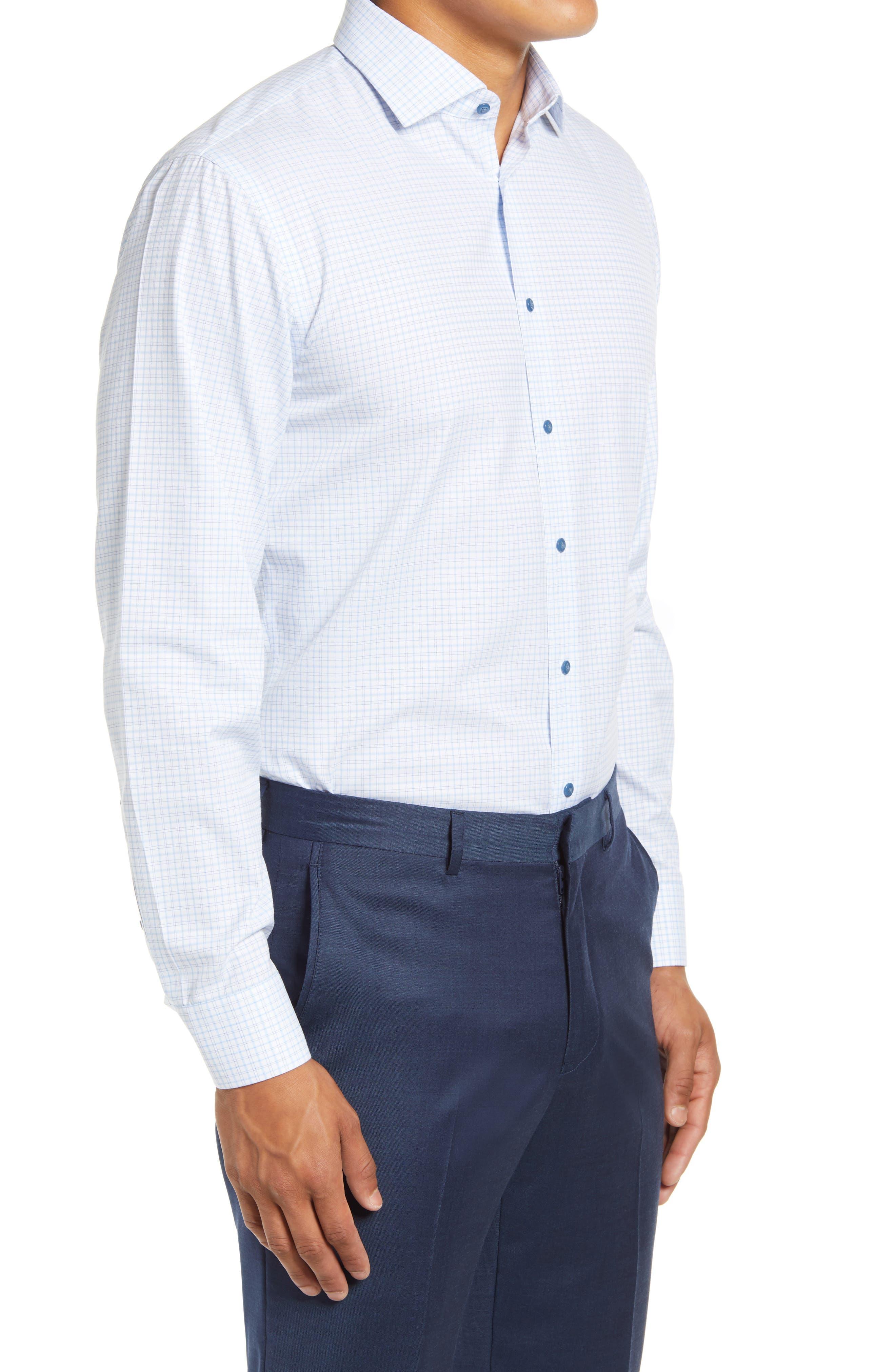 NORDSTROM MEN'S SHOP Trim Fit Non-Iron Plaid Stretch Dress Shirt