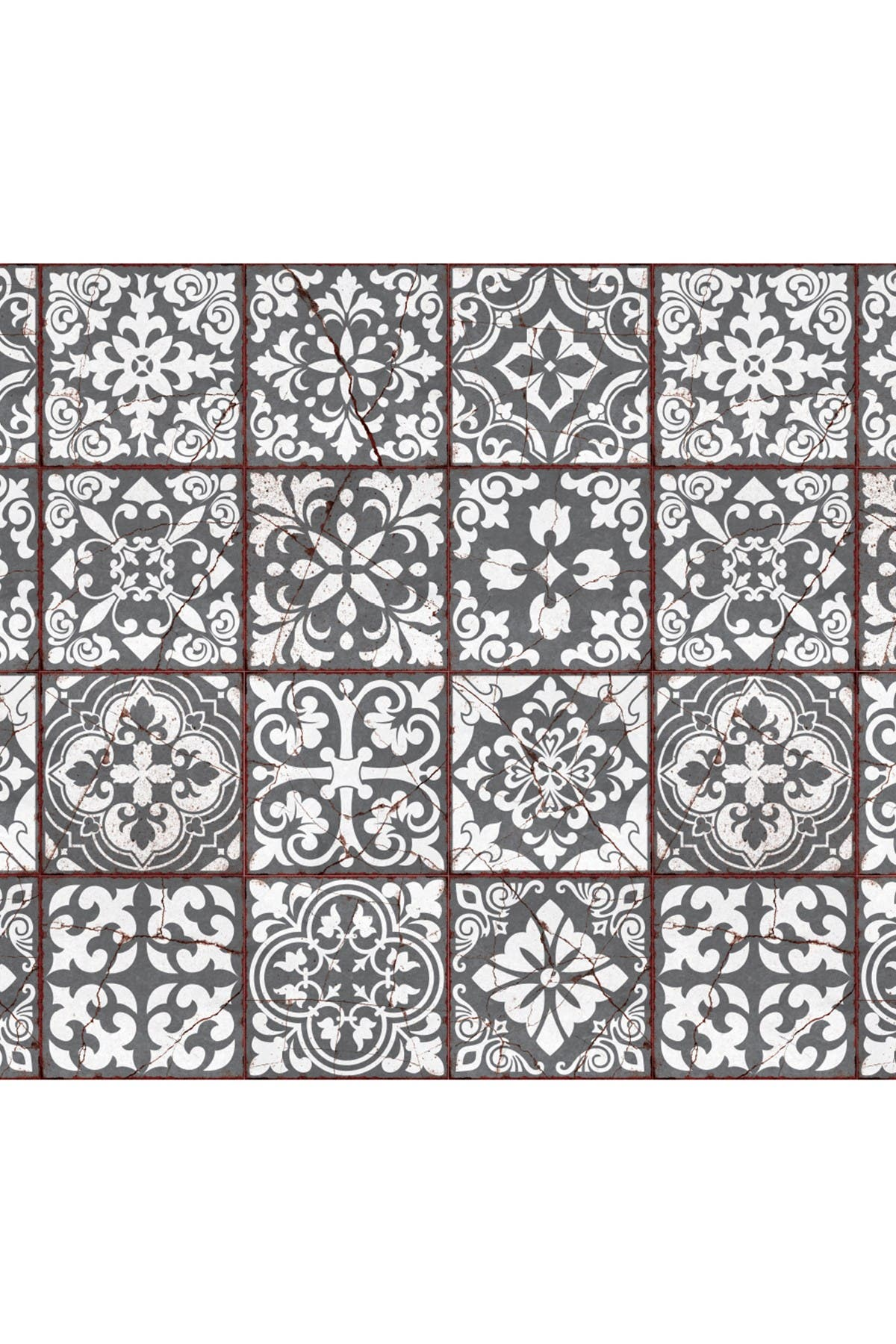 Image of WalPlus Vintage Cracked Design Medieval Tiles Wall Stickers - 6 x 6 inches - 24 pieces