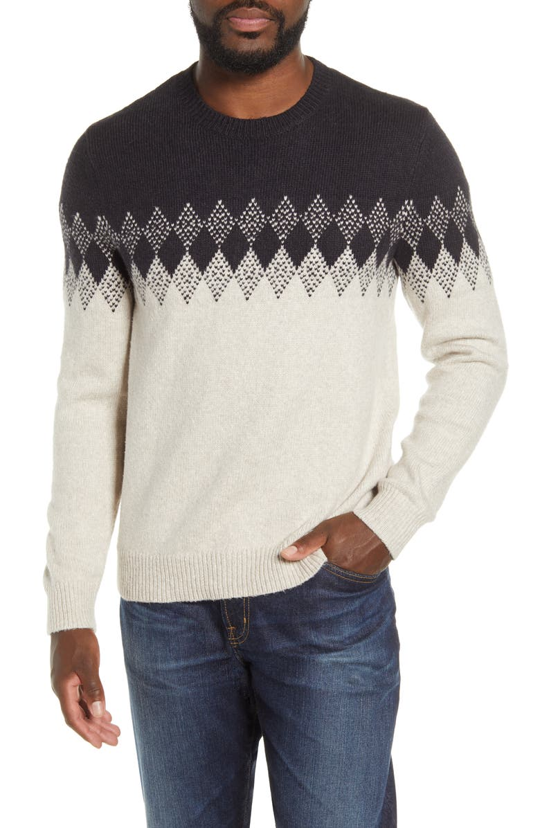 BONOBOS Diamond Fair Isle Crewneck Sweater, Main, color, BLACK/ CREAM