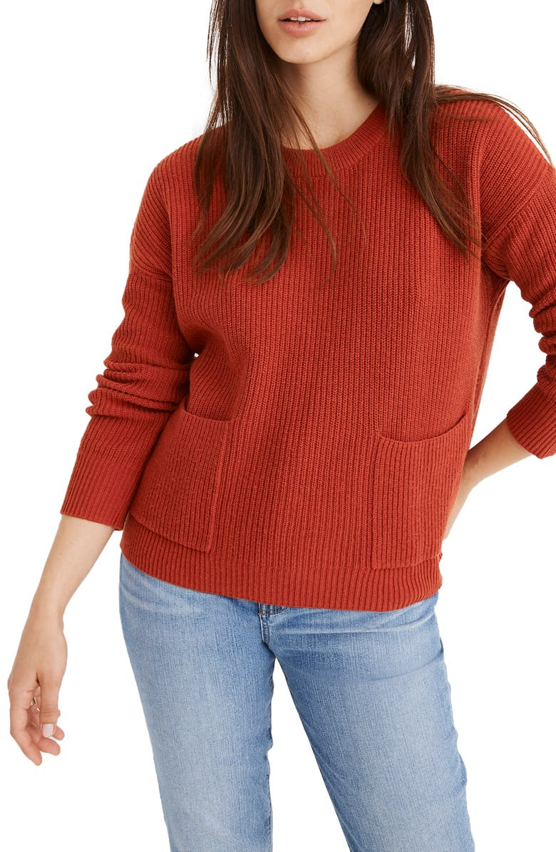 Patch Pocket Pullover Sweater, Main, color, BRIGHT EMBER