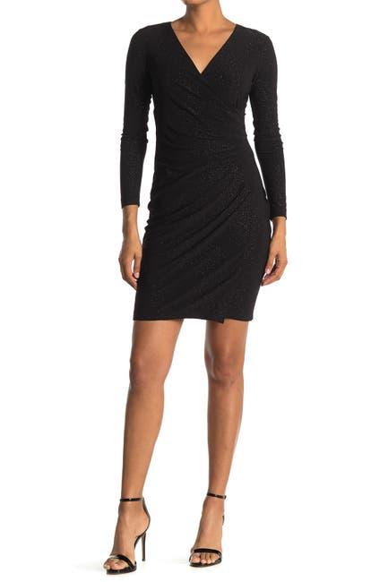 Image of Calvin Klein Glitter Ruched Surplice Long Sleeve Sheath Dress