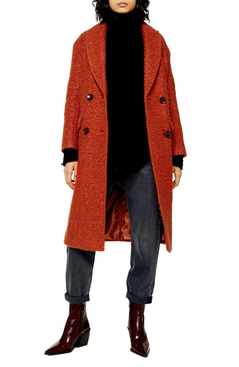 TOPSHOP Kim Bouclé Coat, Main, color, RUST