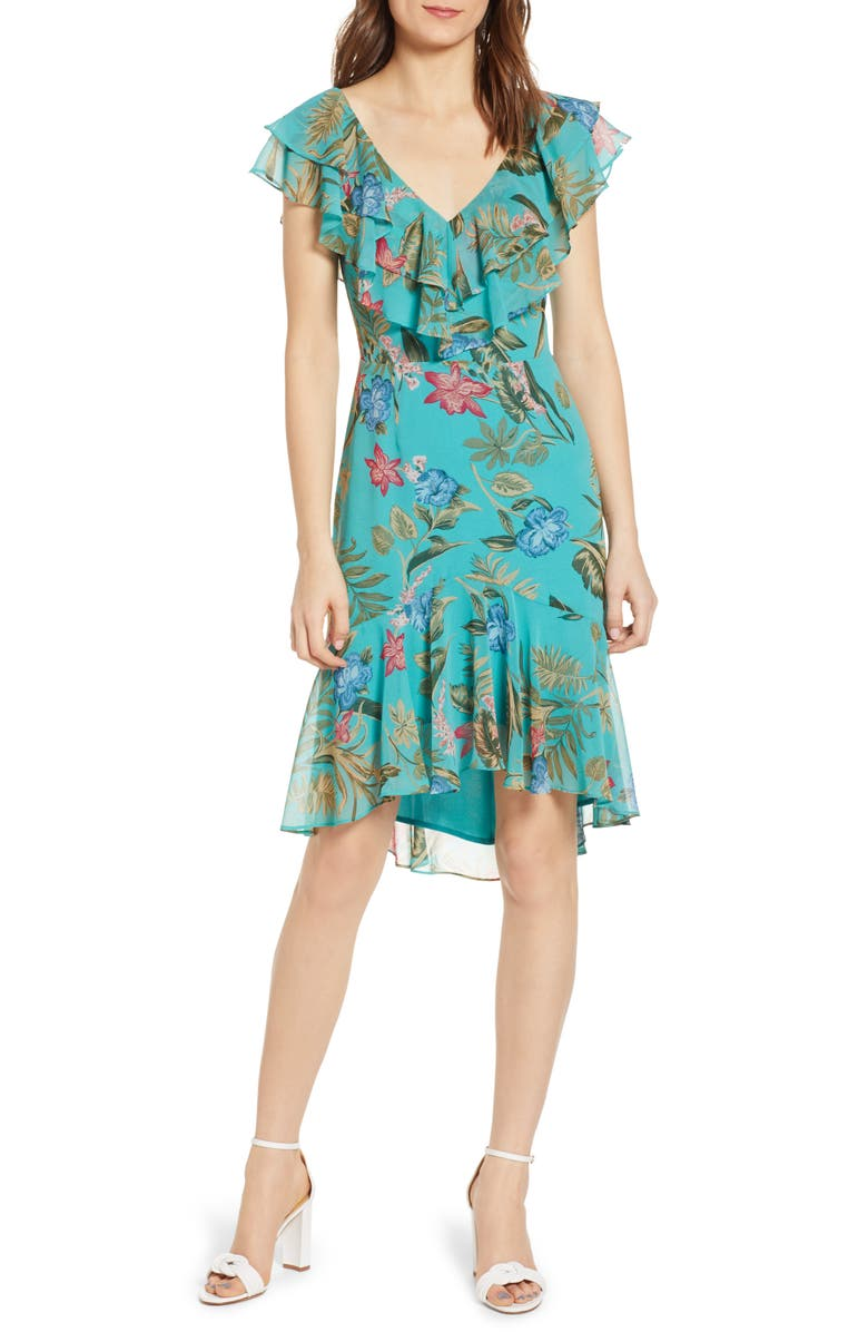 WAYF Chelsea Ruffle High/Low Dress, Main, color, TEAL TROPICAL