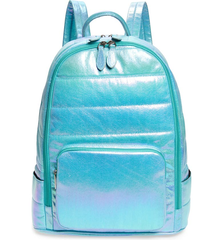 BARI LYNN Puffy Hologram Galaxy Metallic Backpack, Main, color, AQUA