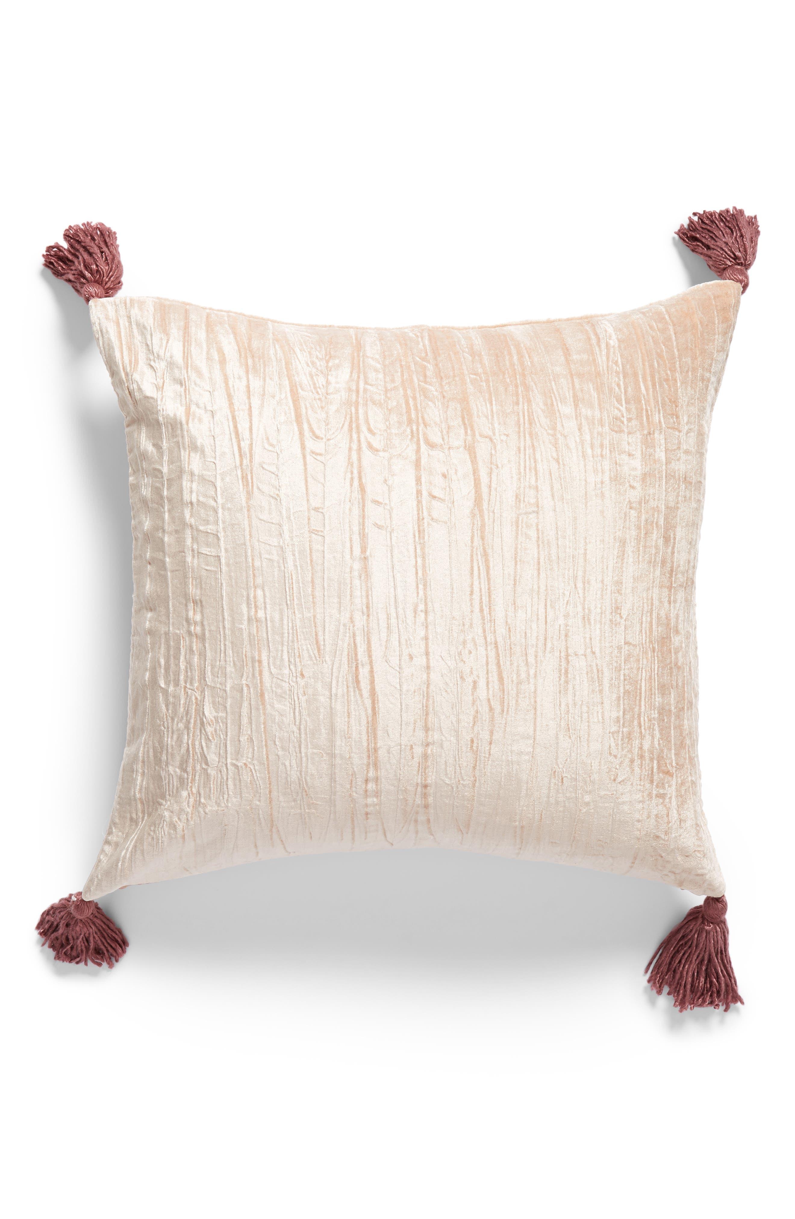 ,                             Tassel Crushed Velvet Accent Pillow,                             Main thumbnail 1, color,                             PINK HERO