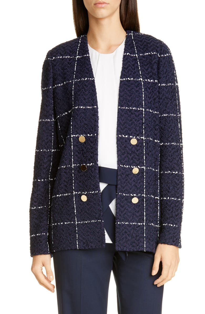 ST. JOHN COLLECTION Herringbone Grid Knit Jacket, Main, color, NAVY/ WHITE