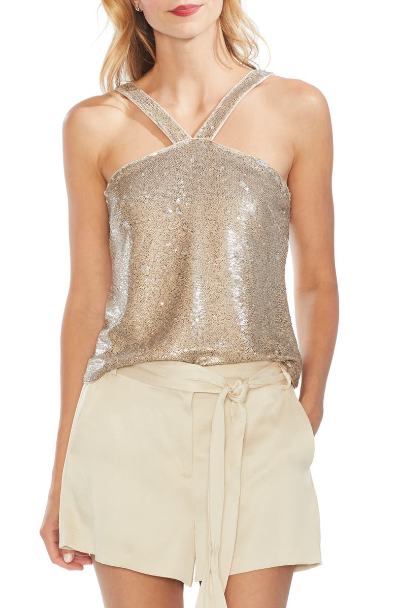 VINCE CAMUTO Sequin Sleeveless Top, Main, color, 272
