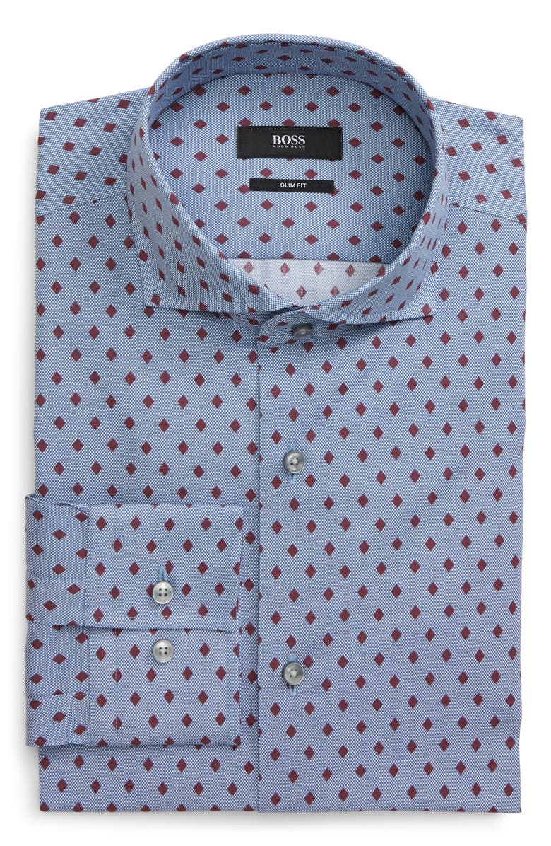 BOSS Jason Slim Fit Diamond Dress Shirt, Main, color, 604