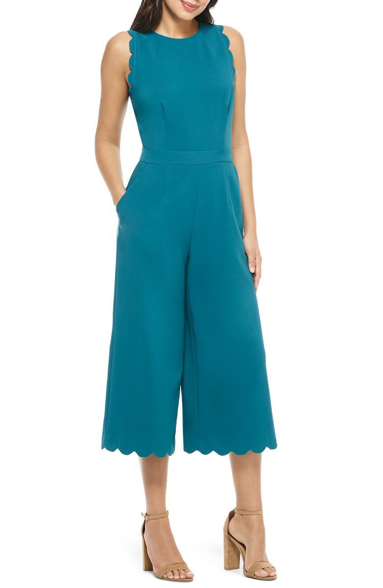 MAGGY LONDON Scalloped Crop Jumpsuit, Main, color, DARK TEAL