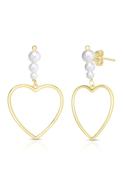 Image of Sphera Milano 14K Yellow Gold Plated Sterling Silver Freshwater Pearl Heart Earrings