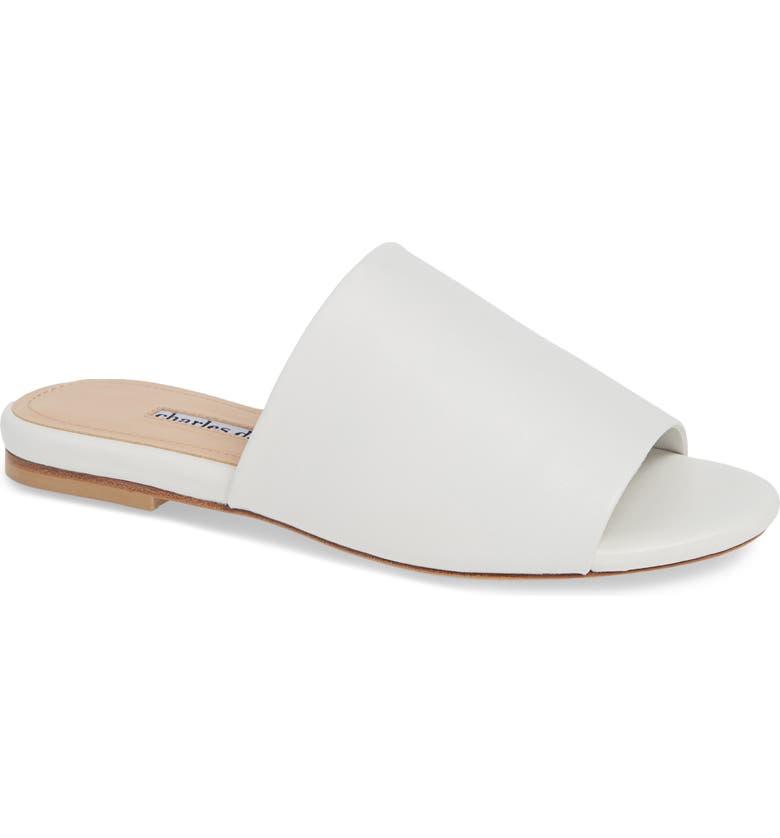 CHARLES DAVID Soleil 2 Slide Sandal, Main, color, WHITE LEATHER