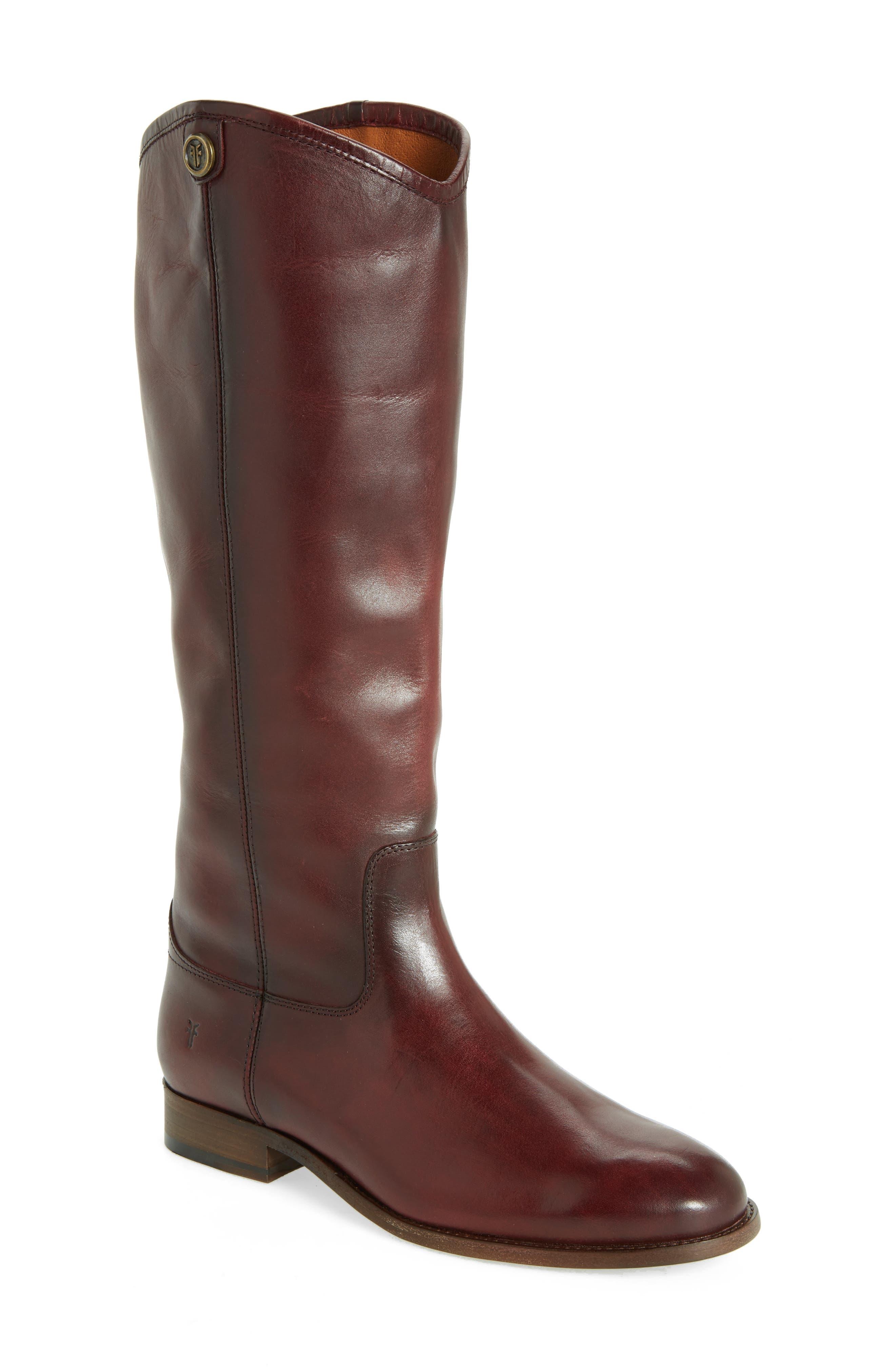 Frye Melissa Button 2 Knee High Boot, Ext Calf- Burgundy