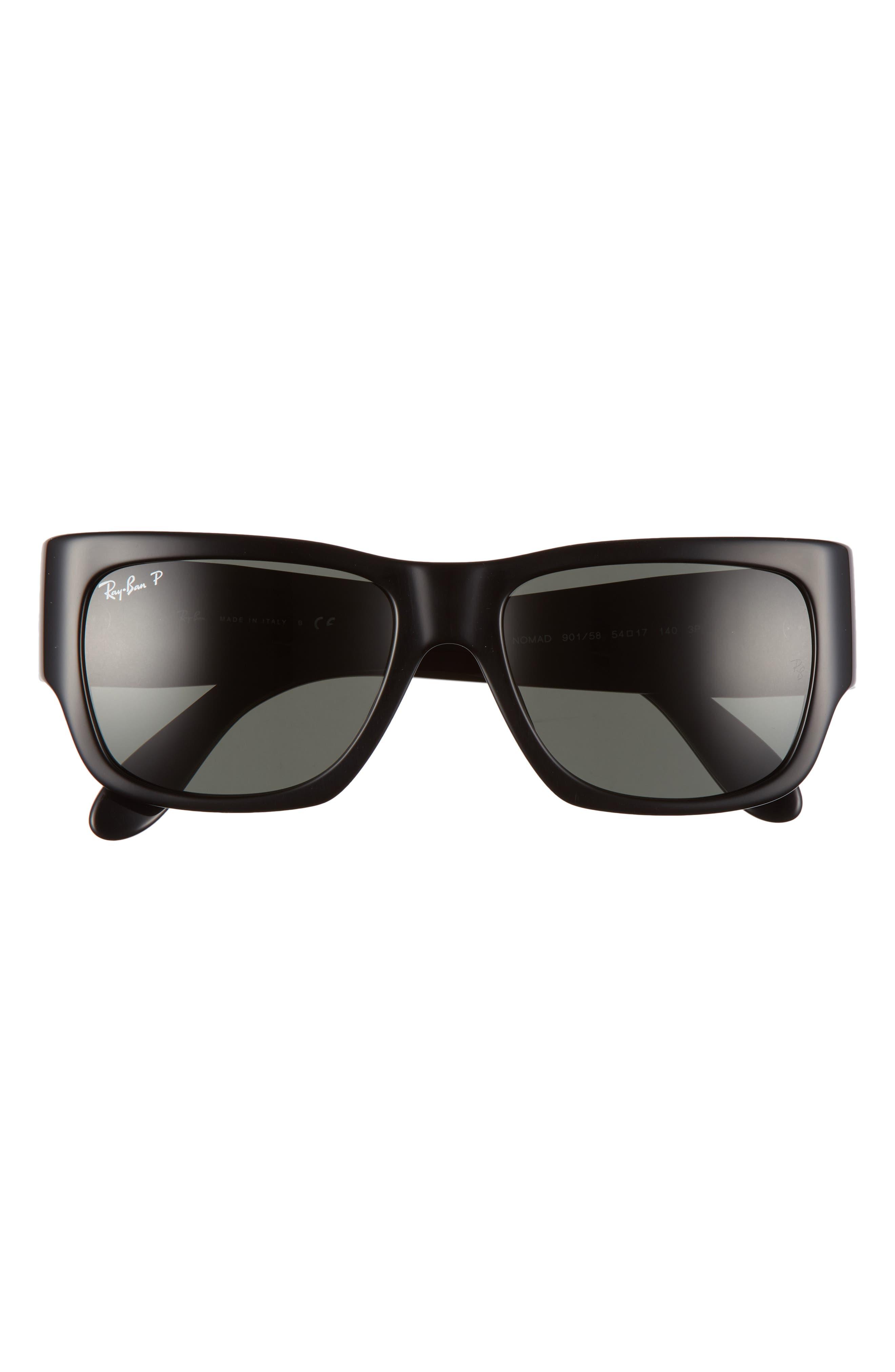 Ray Ban 54mm Polarized Wayfarer Sunglasses In Shiny Black/ Green
