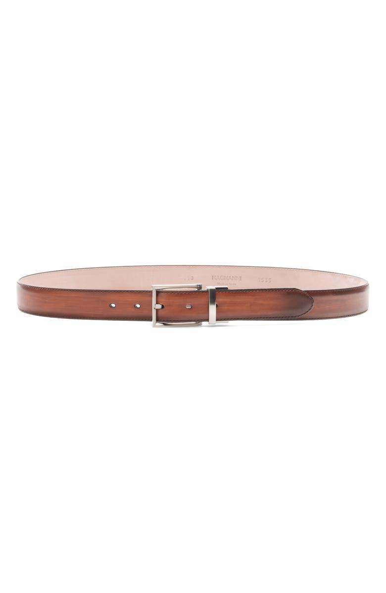 MAGNANNI Cortar Leather Belt, Main, color, COGNAC