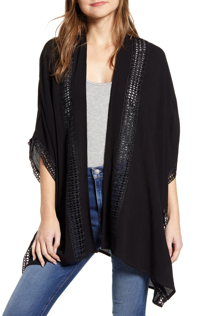 NORDSTROM Lace Trim Wrap, Main, color, BLACK