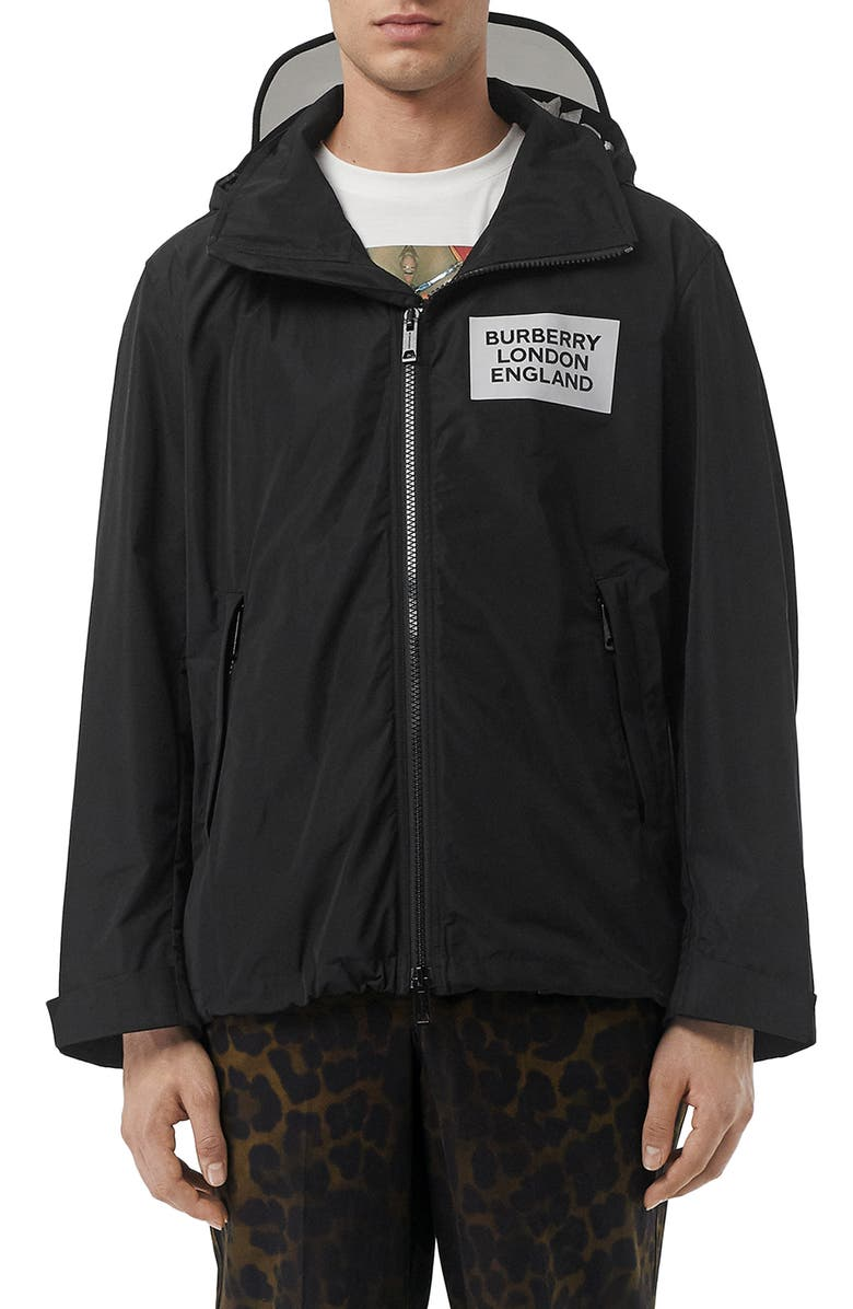 BURBERRY Kway Berkshire Water Resistant Parka, Main, color, BLACK