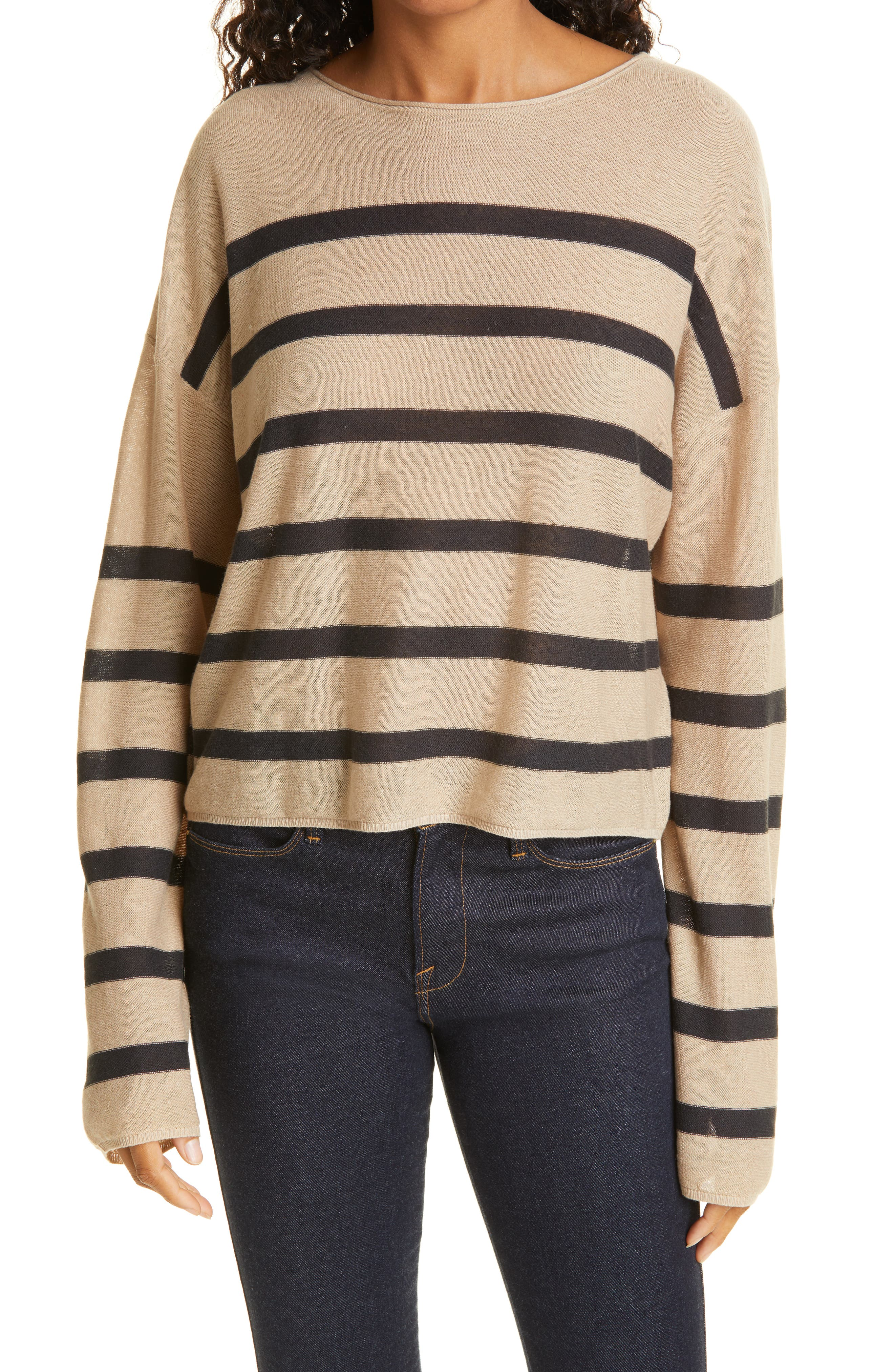 Stripe Reverse Jersey Boatneck Pullover