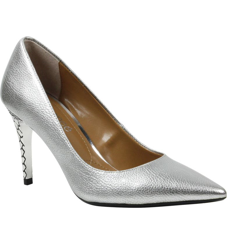 J. RENEÉ 'Maressa' Pointy Toe Pump, Main, color, SILVER LEATHER