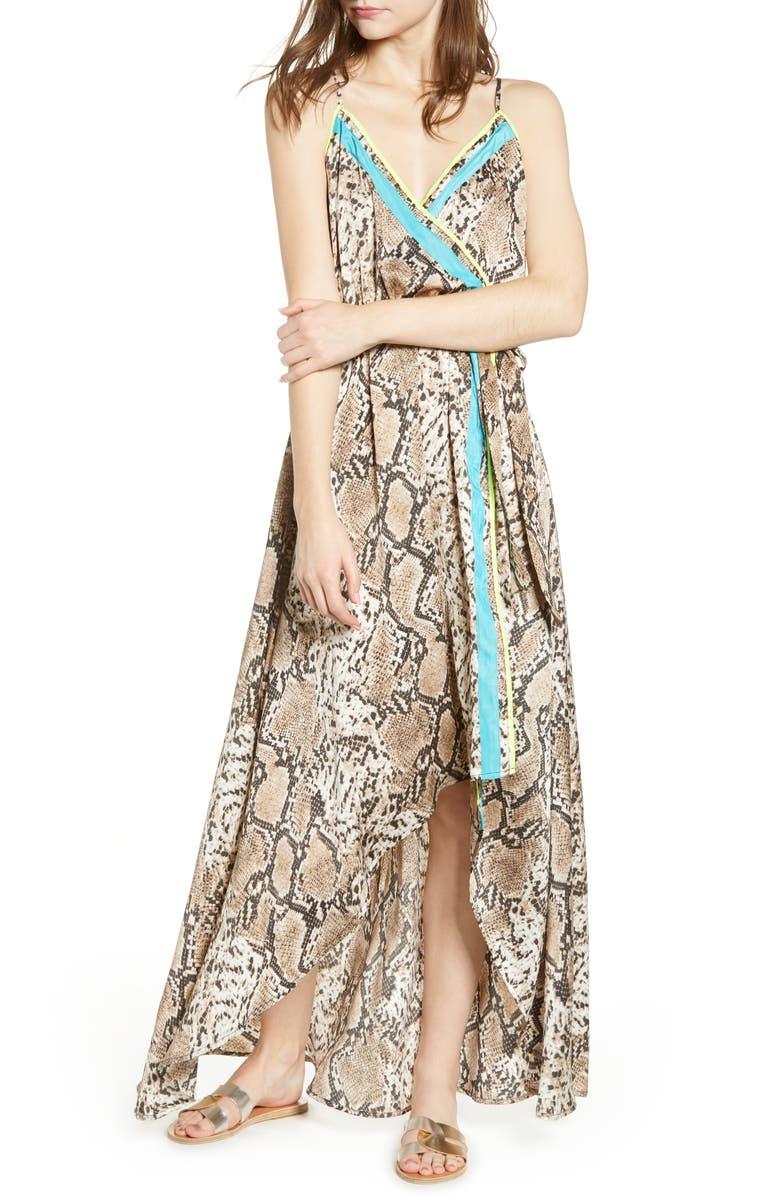 A LA PLAGE Python Print Wrap Dress, Main, color, PYTHON POP