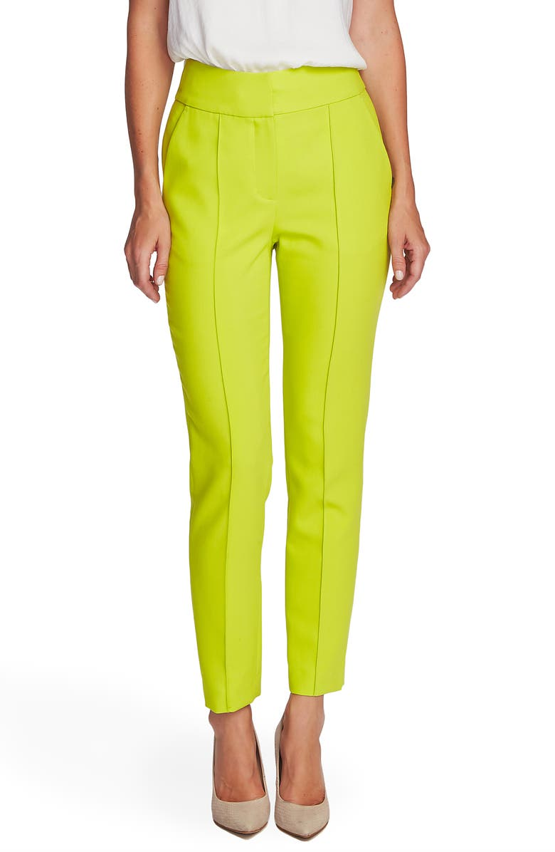 VINCE CAMUTO Center Seam Stretch Crepe Skinny Trousers, Main, color, LIME CHROME