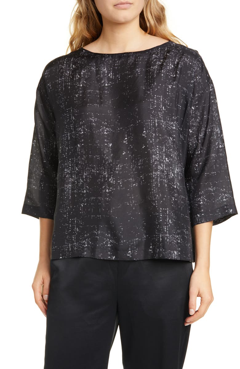 EILEEN FISHER Boxy Silk Top, Main, color, CHARCOAL
