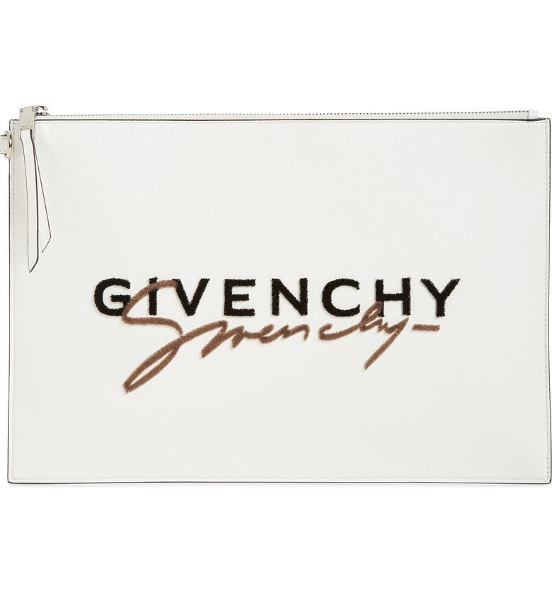 GIVENCHY Large Signature Calfskin Leather Pouch, Main, color, WHITE
