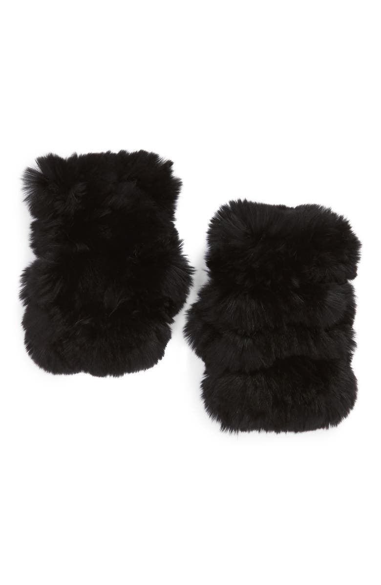 JOCELYN Mandy Genuine Rabbit Fur Open Top Mittens, Main, color, BLACK