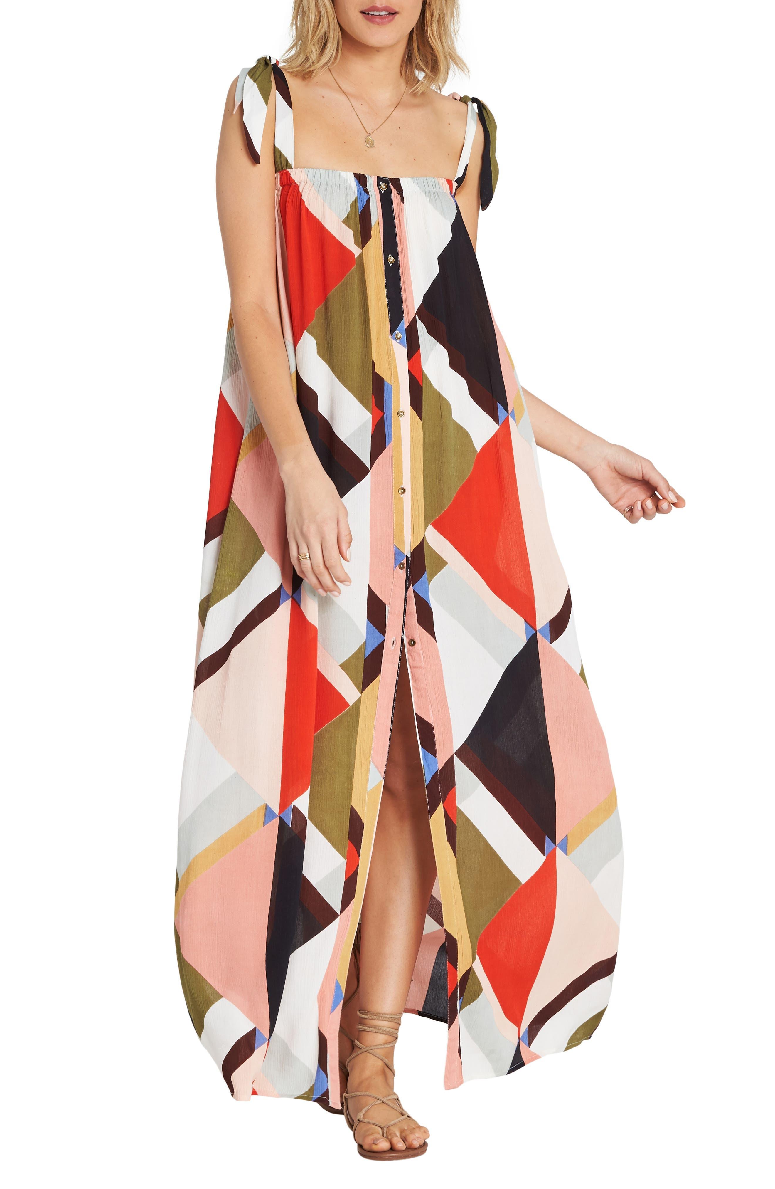 Billabong Rainbow Gate Maxi Dress, Red