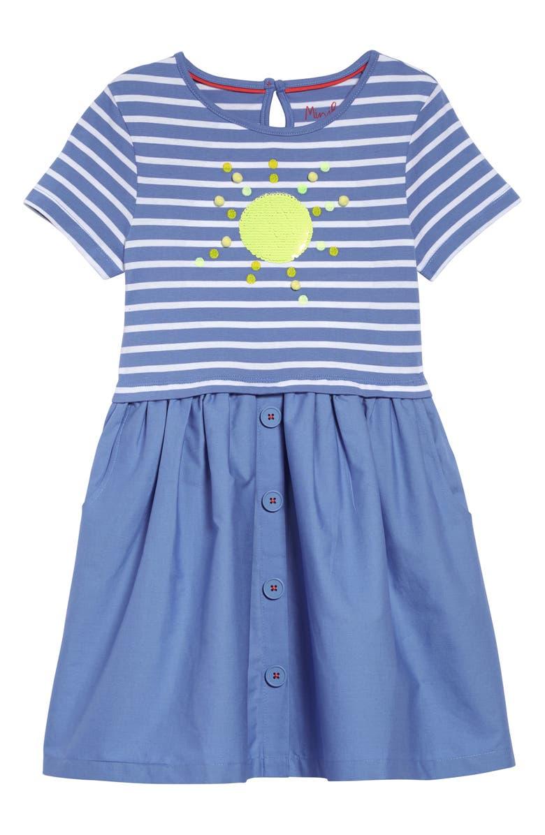 MINI BODEN Sequin Color Change Fit & Flare Dress, Main, color, 424