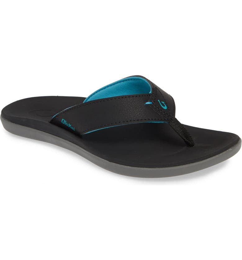 OLUKAI Niau Flip Flop, Main, color, BLACK/ BLACK