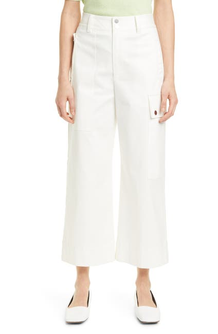 Image of Proenza Schouler Crop Wide Leg Cotton Twill Cargo Pants