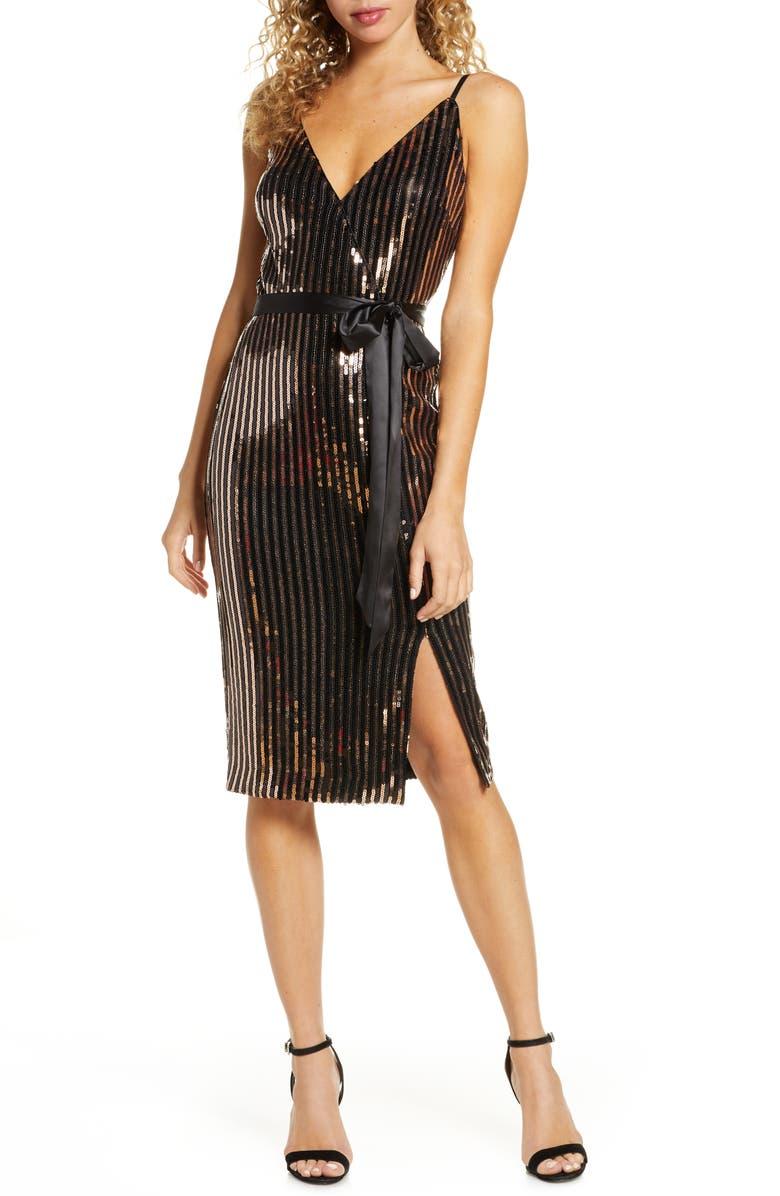 CHELSEA28 Sequin Stripe Faux Wrap Cocktail Dress, Main, color, BLACK- GOLD
