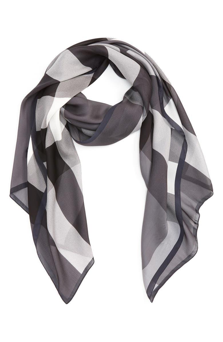 BURBERRY Mega Check Silk Scarf, Main, color, 020