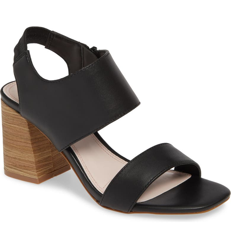 KENSIE Elianna Block Heel Sandal, Main, color, BLACK LEATHER