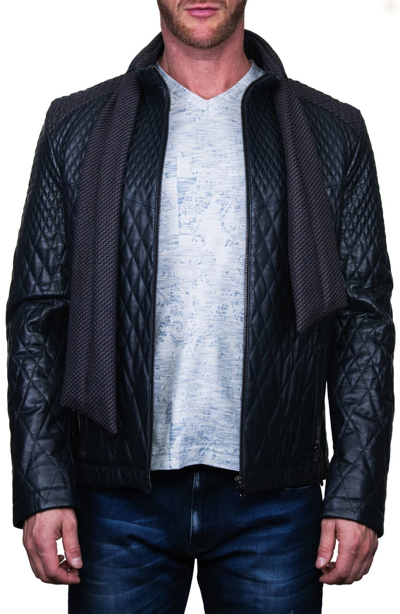 MACEOO Quilted Leather Jacket with Scarf, Main, color, BLUE