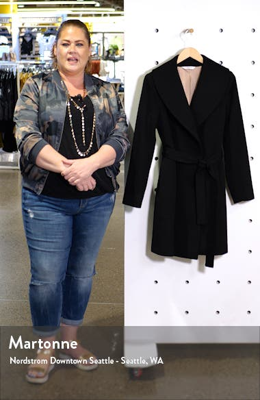 Shawl Collar Cashmere Wrap Coat, sales video thumbnail