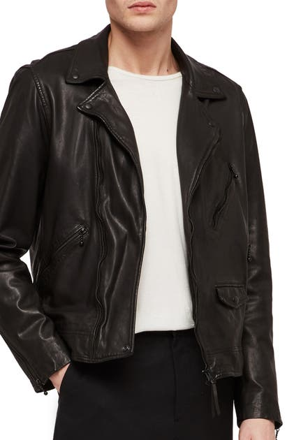 Allsaints Holt Slim Fit Leather Biker Jacket In Jet Black