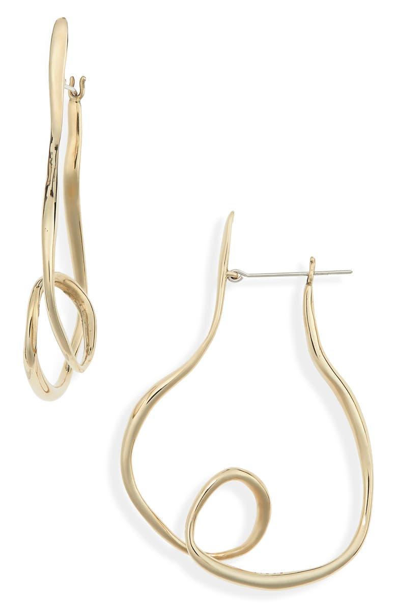 FARIS Vinea Hoop Earrings, Main, color, BRONZE